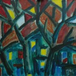 Закат. Зеленый дом х.м. 74х90 2006