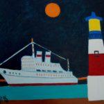 Луна, корабль и маяк х.м. 100х115 2016