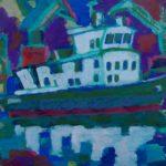 Порт ночью II, бумага, смешанная техника, 42х60, 2016