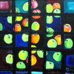 Яблоки на синей драпировке через чёрное х.м. 100х110 2006